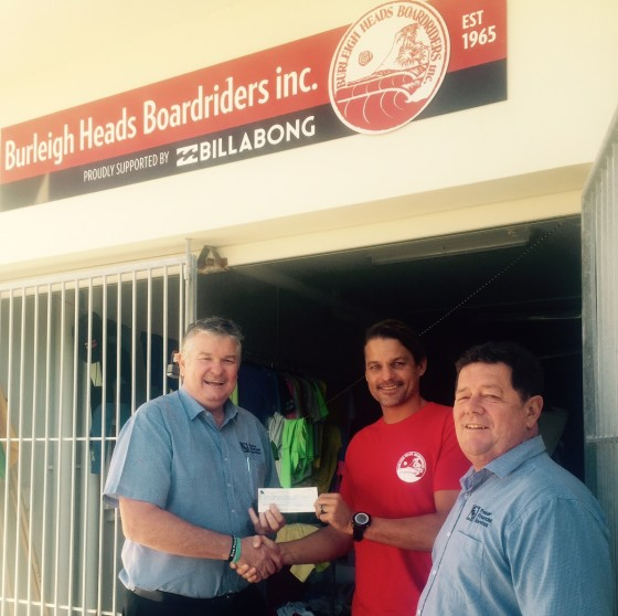 "Ian Fraser presents the first cheque to Burleigh President, James Lewis, with Terry ""Tappa""Teece"